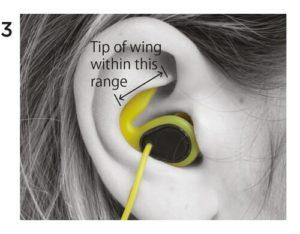 96420289138 Advarsel: Skub ikke i midten af øreproppen, når du sætter proppen i øret.